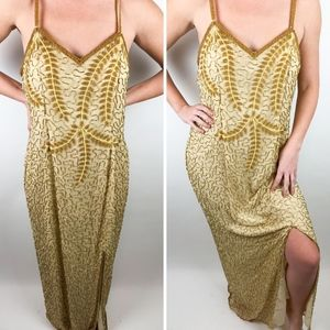 Vintage Prom/New Years/Gatsby Gold Sequin Dress